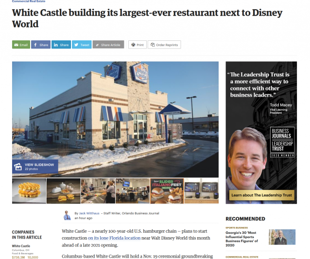 White Castle building its largest-ever restaurant next to Disney World