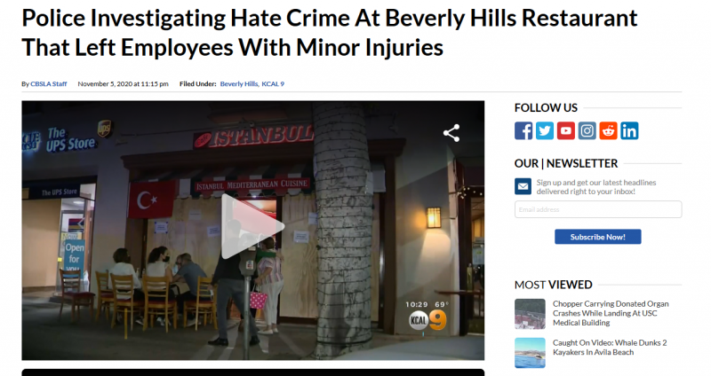 Police Investigating Hate Crime At Beverly Hills Restaurant That Left Employees With Minor Injuries