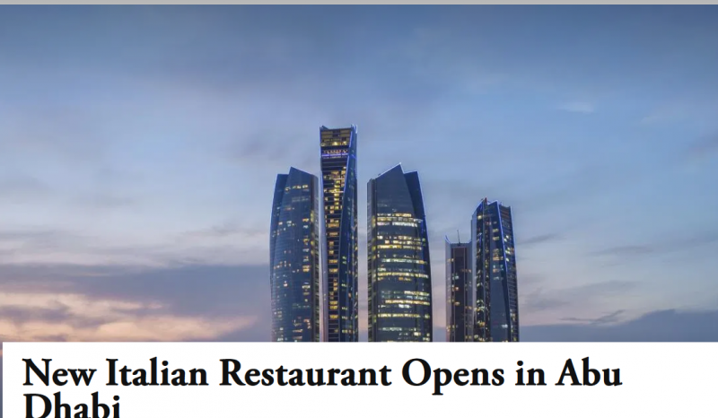 New Italian Restaurant Opens in Abu Dhabi – Retail & Leisure International