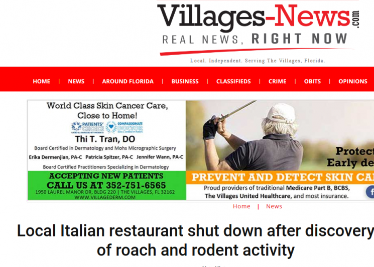 Local Italian restaurant shut down after discovery of roach and rodent activity