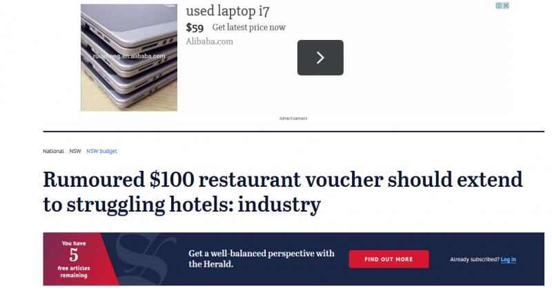 Rumoured $100 restaurant voucher should extend to struggling hotels: industry