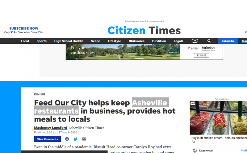 Feed Our City helps keep Asheville restaurants in business, provides hot meals to locals