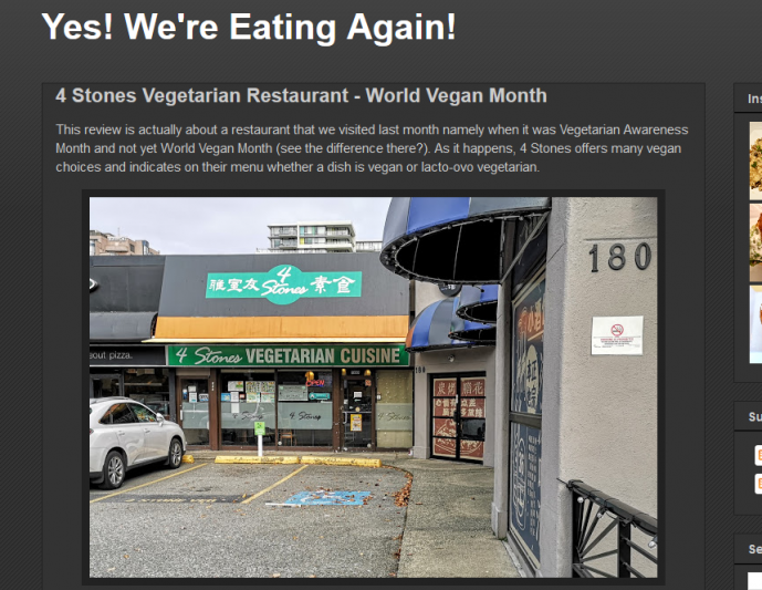 4 Stones Vegetarian Restaurant World Vegan Month
