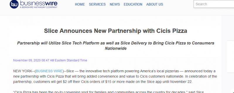 Slice Announces New Partnership with Cicis Pizza