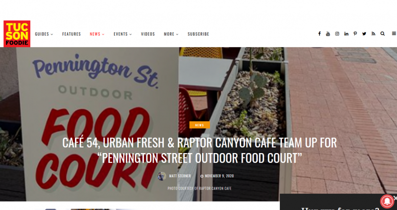Café 54, Urban Fresh & Raptor Canyon Cafe team up for
