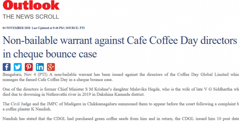 Non-bailable warrant against Cafe Coffee Day directors in cheque bounce case