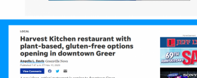 Harvest Kitchen restaurant with plant-based, gluten-free options opening in downtown Greer