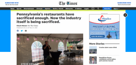 Pennsylvania's restaurants have sacrificed enough. Now the industry itself is being sacrificed.