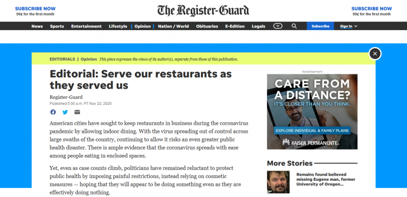 Editorial: Serve our restaurants as they served us