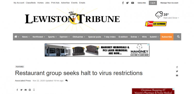 Restaurant group seeks halt to virus restrictions