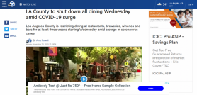 LA County to shut down all dining Wednesday amid COVID-19 surge