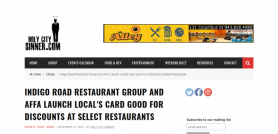 Indigo Road Restaurant Group and AFFA Launch Local's Card Good For Discounts at Select Restaurants