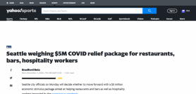 Seattle weighing $5M COVID relief package for restaurants, bars, hospitality workers