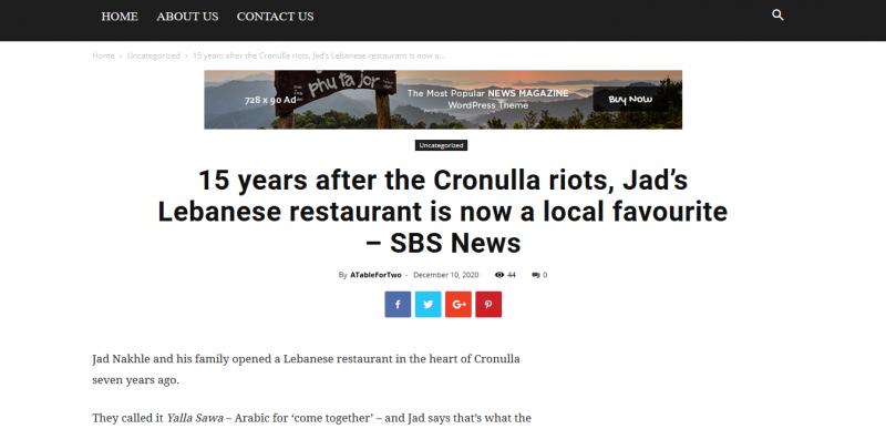 15 years after the Cronulla riots Jad's Lebanese restaurant is now a local favourite