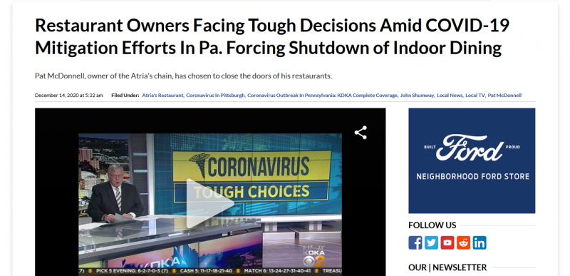 Restaurant Owners Facing Tough Decisions Amid COVID-19 Mitigation Efforts In Pa. Forcing Shutdown of Indoor Dining