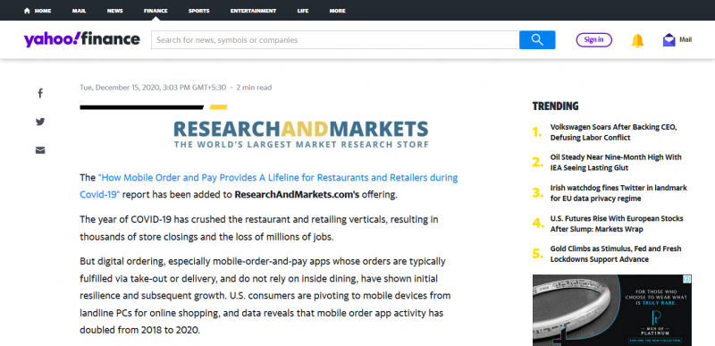 How Mobile Order and Pay Provides A Lifeline for US Restaurants and Retailers During COVID-19, 2020 Report ResearchAndMarkets.com