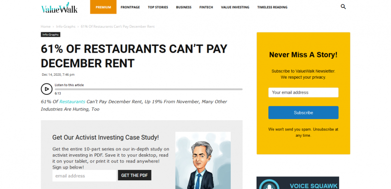 61% Of Restaurants Can't Pay December Rent ValueWalk