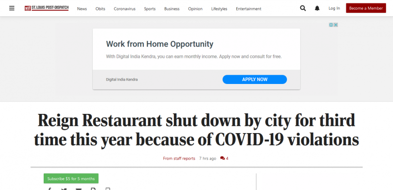 Reign Restaurant shut down by city for third time this year because of COVID-19 violations