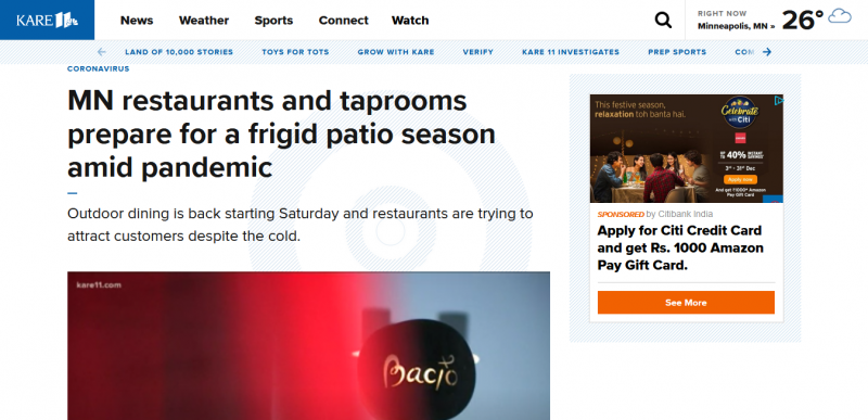 MN restaurants and taprooms prepare for a frigid patio season amid pandemic