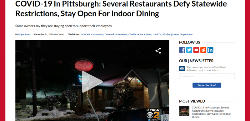 COVID 19 In Pittsburgh Several Restaurants Defy Statewide Restrictions Stay Open For Indoor Dining