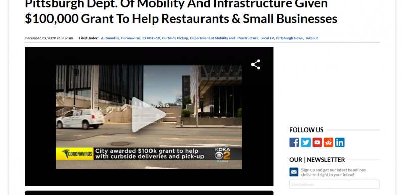Pittsburgh Dept Of Mobility And Infrastructure Given $100000 Grant To Help Restaurants & Small Businesses