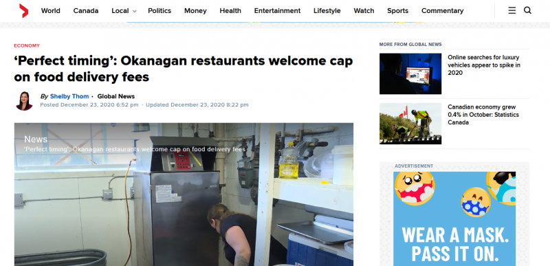 Perfect timing Okanagan restaurants welcome cap on food delivery fees