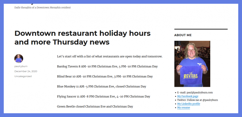 Downtown restaurant holiday hours and more Thursday news