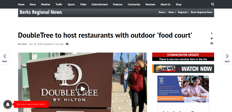 DoubleTree to host restaurants with outdoor food court