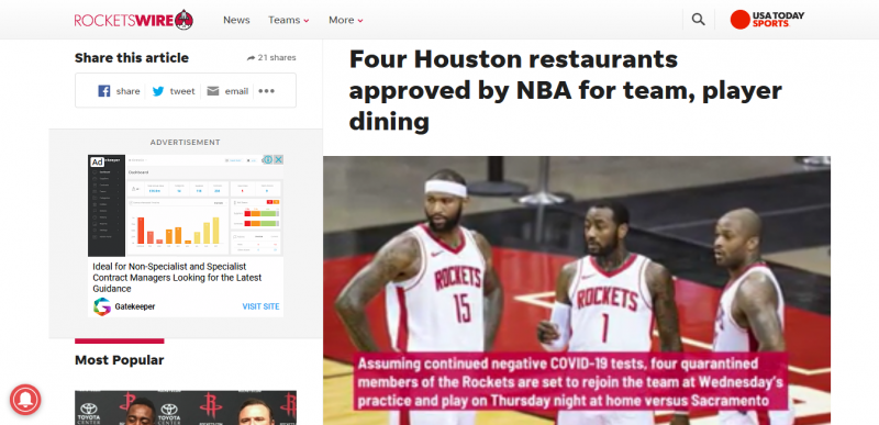 Four Houston restaurants approved by NBA for team player dining
