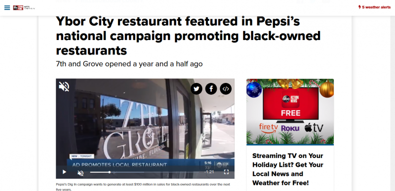 Ybor City restaurant featured in Pepsi's national campaign promoting black-owned restaurants