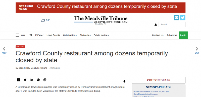 Crawford County restaurant among dozens temporarily closed by state