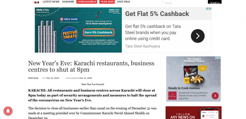 New Year's Eve Karachi restaurants business centres to shut at 8pm