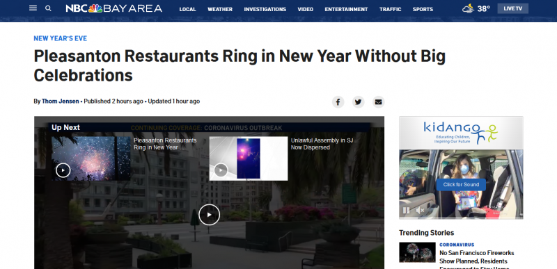 Pleasanton Restaurants Ring in New Year Without Big Celebrations