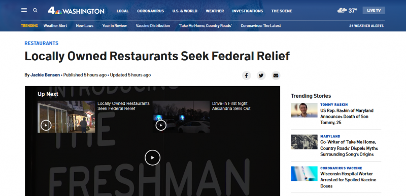 Locally Owned Restaurants Seek Federal Relief