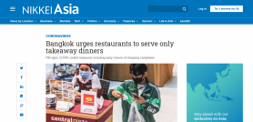 Bangkok urges restaurants to serve only takeaway dinners