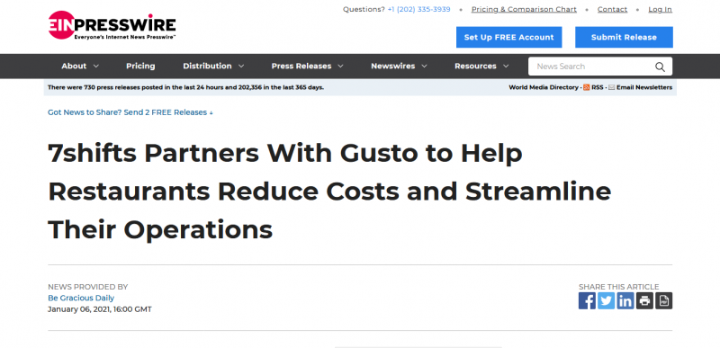 7shifts Partners With Gusto to Help Restaurants Reduce Costs and Streamline Their Operations