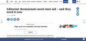 Editorial Restaurants need state aid and they need it now