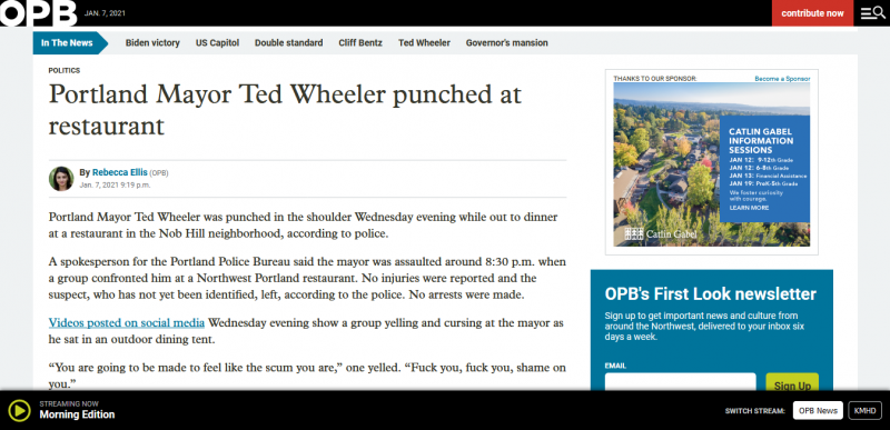 Portland Mayor Ted Wheeler punched at restaurant