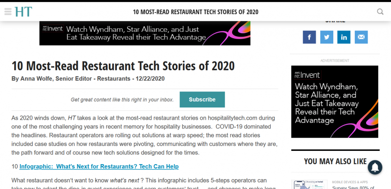 10 Most-Read Restaurant Tech Stories of 2020