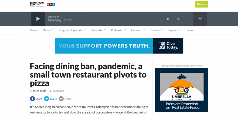 Facing dining ban, pandemic, a small town restaurant pivots to pizza