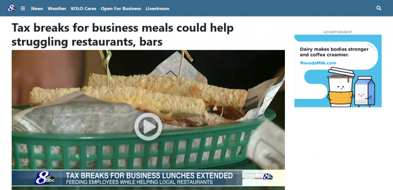 Tax breaks for business meals could help struggling restaurants, bars