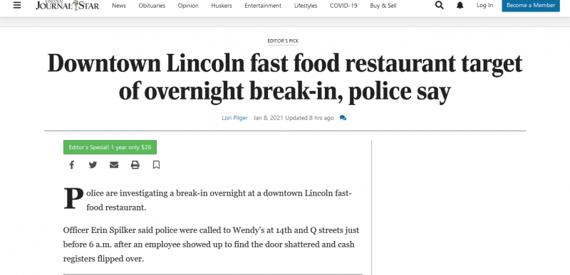 Downtown Lincoln fast food restaurant target of overnight break-in, police say