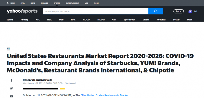 United States Restaurants Market Report 2020-2026: COVID-19 Impacts and Company Analysis of Starbucks, YUM! Brands, McDonald's, Restaurant Brands International, & Chipotle
