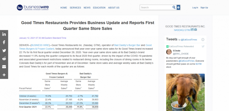 Good Times Restaurants Provides Business Update and Reports First Quarter Same Store Sales
