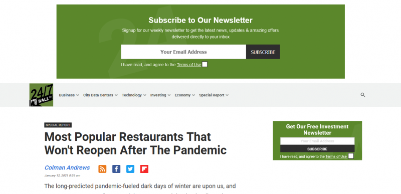 Most Popular Restaurants That Won't Reopen After The Pandemic