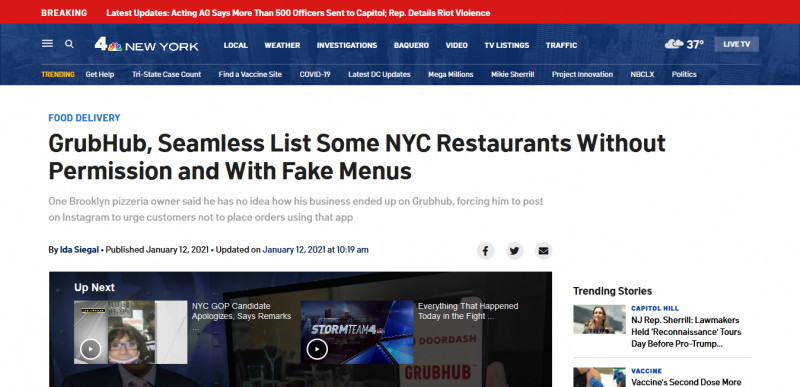 GrubHub, Seamless List Some NYC Restaurants Without Permission and With Fake Menus