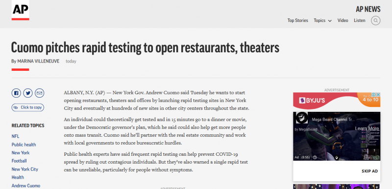 Cuomo pitches rapid testing to open restaurants, theaters