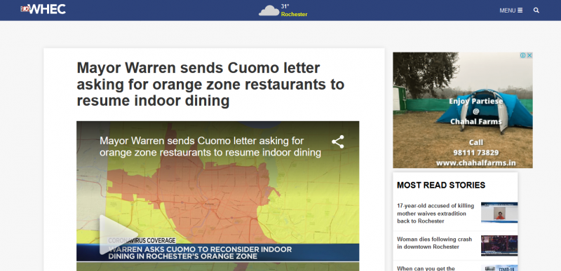 Mayor Warren sends Cuomo letter asking for orange zone restaurants to resume indoor dining