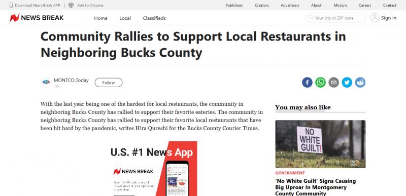 Community Rallies to Support Local Restaurants in Neighboring Bucks County