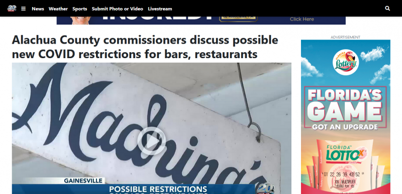 Alachua County commissioners discuss possible new COVID restrictions for bars, restaurants